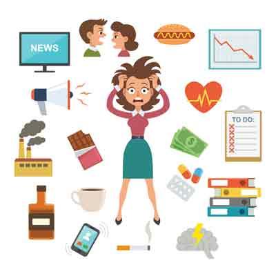 Femme stressée par les soucis professionnels et personnels