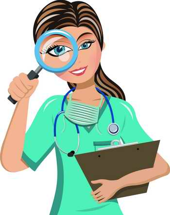 Infirmière surveillant avec une loupe